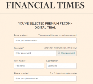 Financial Times Form For Finance Lead Generation