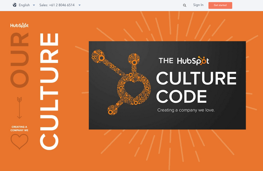 website design - hubspot font contrast